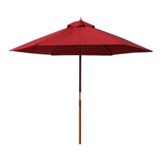 International Caravan Balau Hardwood 6-rib Push-up Pulley System Umbrella