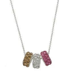 La Preciosa Sterling Silver Clear, Pink and Gold Crystal Bead Necklace