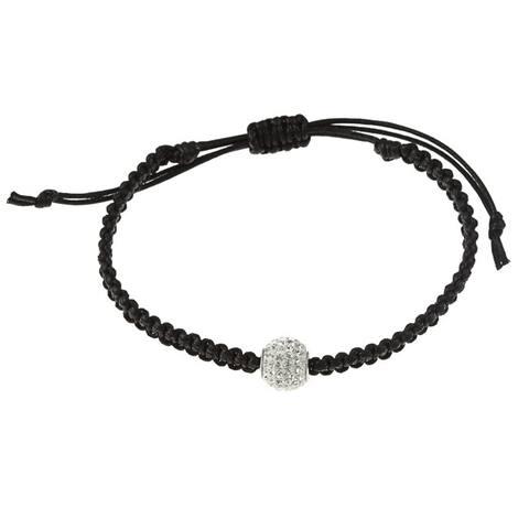 La Preciosa Sterling Silver Crystal Bead Macrame Bracelet