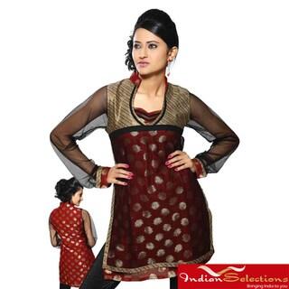 Handmade Women's Rust Net-sleeve Half-body Kurti/ Tunic (India)