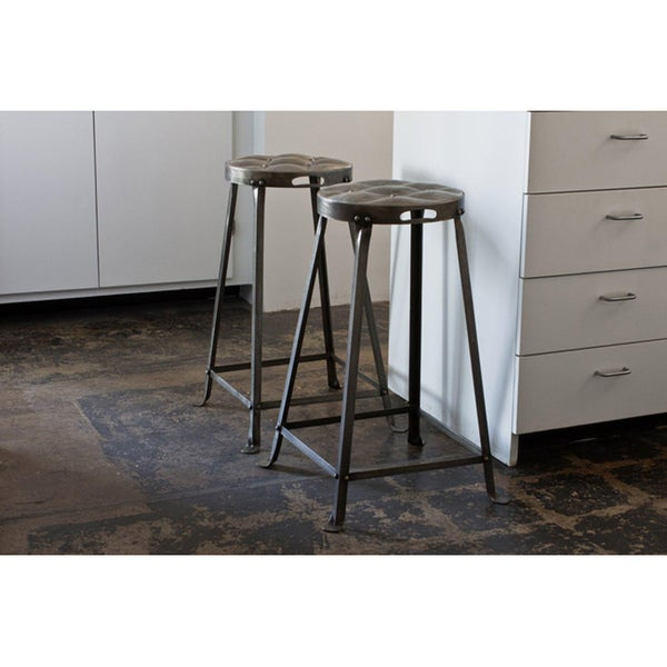 Set Of 2 Metal Tufted Counter Stools India Free