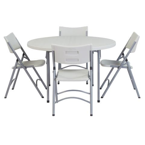 NPS Heavy Duty 48-inch Round Folding Table and Set of 4 Chairs