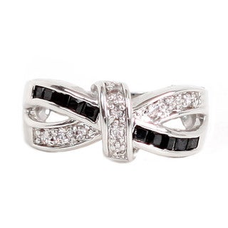 NEXTE Jewelry Silvertone Black and White Cubic Zirconia Bow-Tie Ring