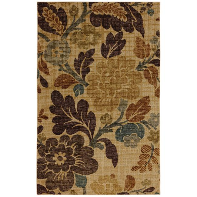 Fiji Ivory Wheat Floral Rug (7' x 9')