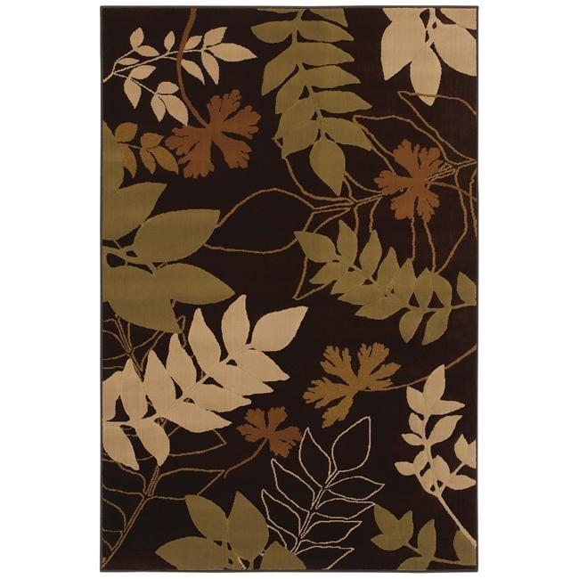Large Brown Floral Rug (8' x 11')