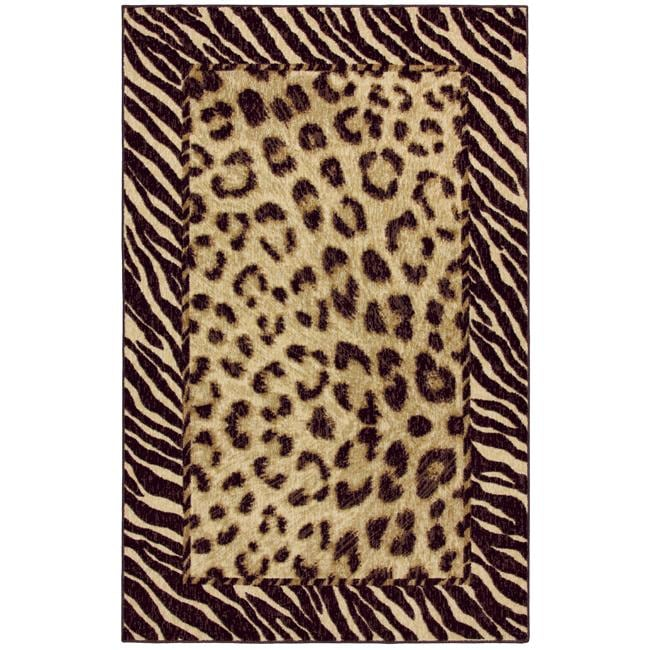 Tigress Ivory/ Brown Animal Rug (8' x 10') - Thumbnail 0