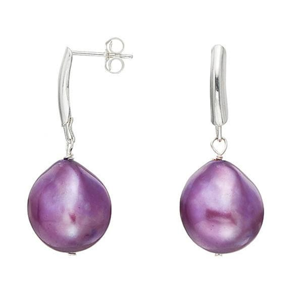Pearlyta Sterling Silver Purple Baroque Pearl Earrings (13-14 mm)