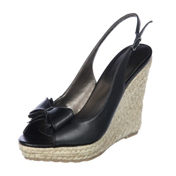 Charles by Charles David Women's 'Fuss' Black Leather Wedge Slngback