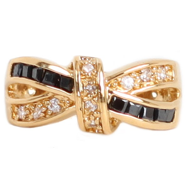 NEXTE Jewelry Goldtone Black and White Cubic Zirconia Bow-tie Ring