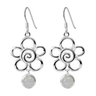 Handmade Sterling Silver Moonstone Flower Earrings (Thailand)