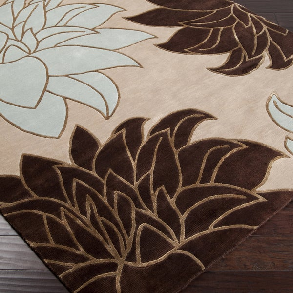 Hand-knotted Beige Wool Area Rug (5' x 8')