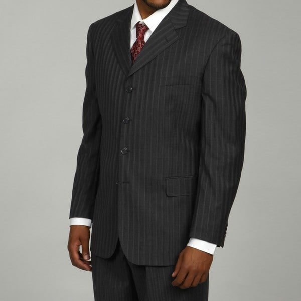 Shop Bendetti Men's Charcoal Shadow Stripe Wool 4-button ...