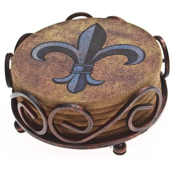 Thirstystone Cork Fleur de Lis Coasters in a Bronze Scroll Holder