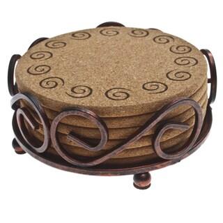 Thirstystone Cork Swirl Coasters in a Bronze Scroll Holder