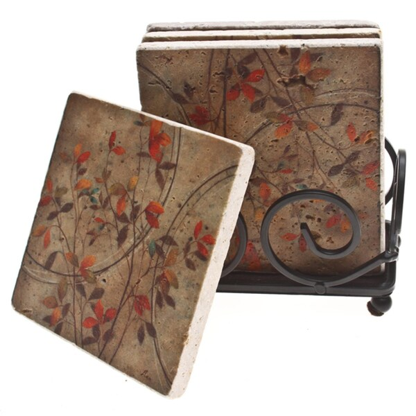 Thirstystone autumn leaves travertine drink coaster set for Best coasters for sweaty drinks
