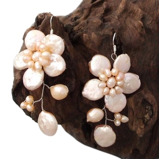 Silver Lace Sakura Pink Pearl Flower Earrings (4-12 mm) (Thailand)