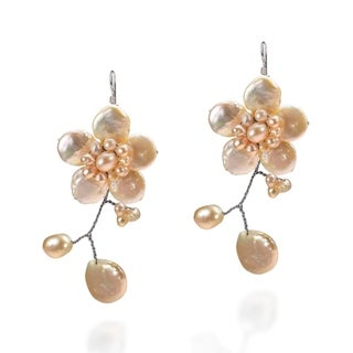 Handmade Lace Sakura Pink Pearl Flower .925 Silver Earrings