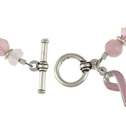 Lola's Jewelry Silvertone Jade and Quartz Breast Cancer Awareness Bracelet - Thumbnail 1