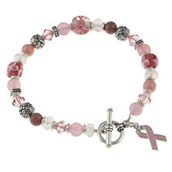 Charming Life Silvertone Jade and Quartz Breast Cancer Awareness Bracelet