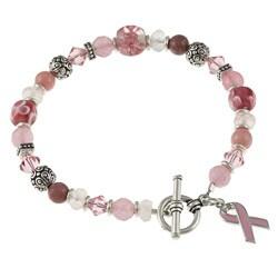 Lola's Jewelry Silvertone Jade and Quartz Breast Cancer Awareness Bracelet
