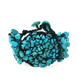 Handmade Cotton Rope Mosiac Reconstructed Turquoise Round Bracelet (Thailand)