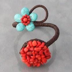 Handmade Cotton Rope Turquoise and Red Coral Circle and Flower Cuff (Thailand)