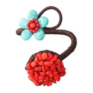 Handmade Cotton Rope Turquoise and Synthetic Coral Flower Cuff