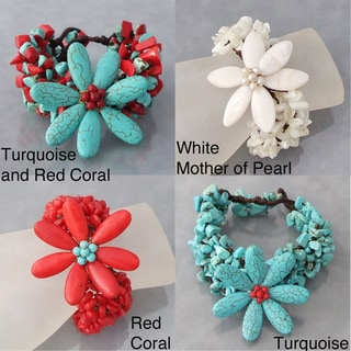 Cotton Gemstone Flower Bracelet (Thailand)
