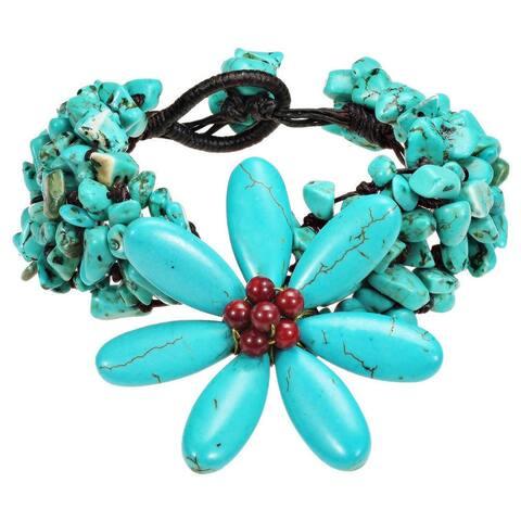 Handmade Cotton Gemstone Flower Bracelet (Thailand)