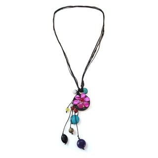 Handmade Cotton Rope Pretty Drop Multi-gemstone Cluster Necklace (Thailand)