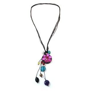 Handmade Cotton Rope Pretty Drop Multi-gemstone Cluster Necklace (Thailand)