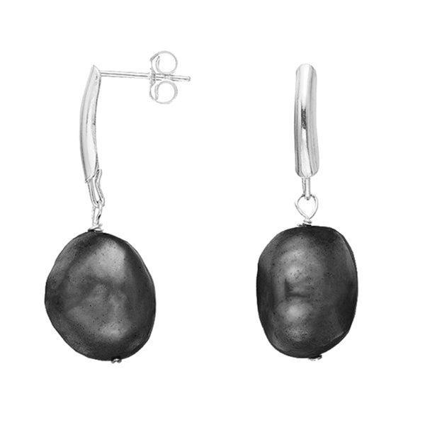 Pearlyta Sterling Silver Black Baroque Pearl Earrings (13-14 mm)