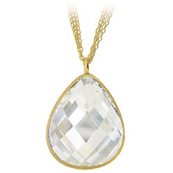 Icz Stonez 18k Gold over Sterling Silver Cubic Zirconia Teardrop Necklace
