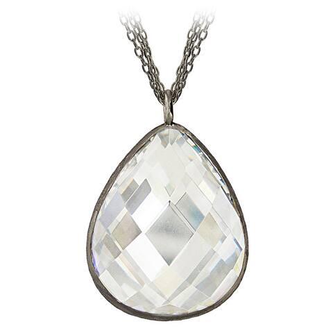 Icz Stonez Black Rhodium over Silver Cubic Zirconia Teardrop Necklace