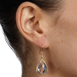 Icz Stonez 18k Gold over Sterling Silver Cubic Zirconia Dangle Earrings - Thumbnail 2