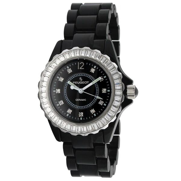 Peugeot Women's Swiss Black Genuine Ceramic Crystal Bezel Watch