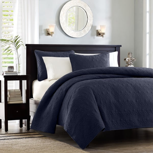 Madison Park Mansfield Quilted Pattern Coverlet Mini Set
