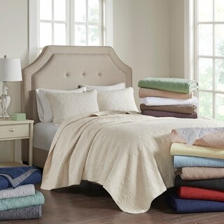 Madison Park Mansfield Quilted Pattern Coverlet Mini Set 10-Color Option