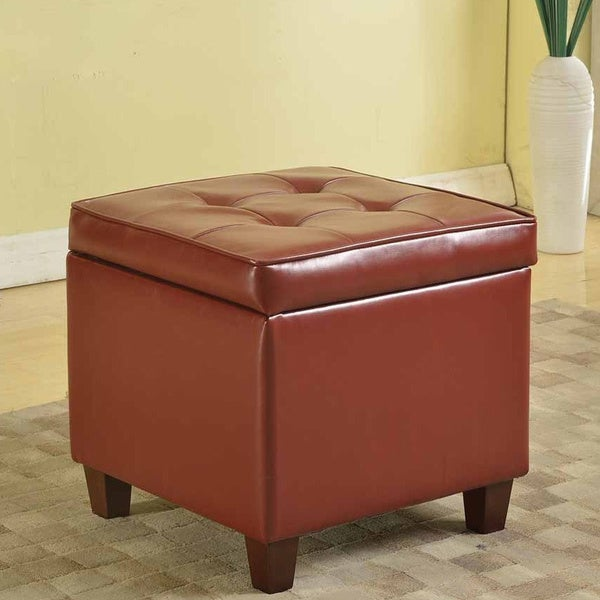 Tufted Square Dark Red Leatherette Storage Ottoman - Tufted Square Dark Red Leatherette Storage Ottoman - Free Shipping