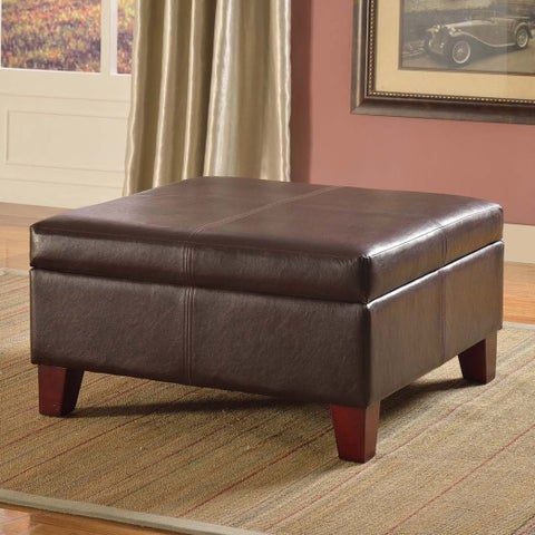 Clay Alder Home Kern Luxury Large Brown Faux Leather Storage Ottoman Table Living Room