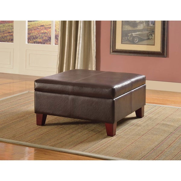 HomePop Large Brown Faux Leather Storage Ottoman Free Shipping