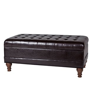 Tufted Espresso Storage Bench