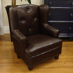 Luxury Toddler Kid's Brown Faux Leather Wingback Chair - Thumbnail 1