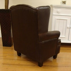 Luxury Toddler Kid's Brown Faux Leather Wingback Chair - Thumbnail 2