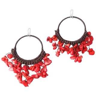 Handmade Cotton Chandelier Red Coral Hoop Dangle Earrings (Thailand)