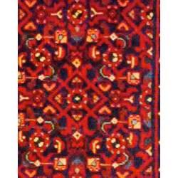 Persian Hand-knotted Navy/ Beige Tribal Hamadan Wool Rug (3'10 x 9'9)