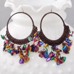Handmade Cotton Mother of Pearl Chandelier Hoop Dangle Earrings (Thailand)