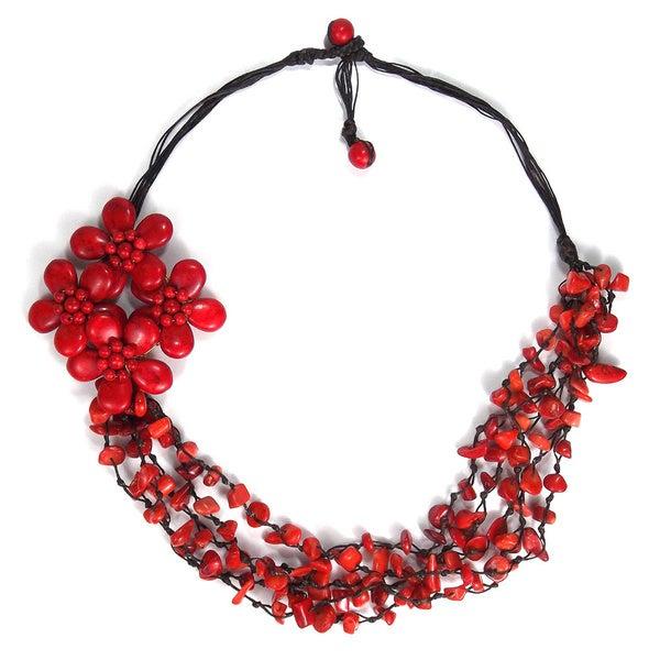 Handmade Cotton Rope Red Coral Side Floral Bouquet Necklace (Thailand)