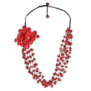 Cotton Rope Necklace with Synthetic Coral Floral Bouquet (Thailand)