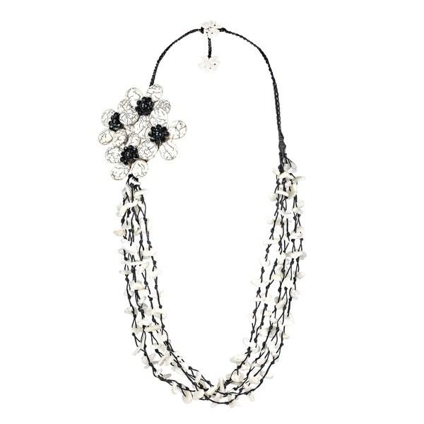 Cotton Black/ White Gemstone Side Floral Bouquet Necklace (Thailand)